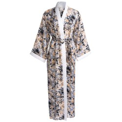 Diamond Tea Robe - Printed Wrap (For Women) in Tangerine