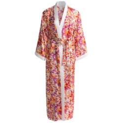 Diamond Tea Robe - Printed Wrap (For Women) in Tangerine