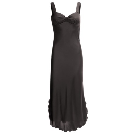 Diamond Tea Satin Nightgown - Sleeveless (For Women) in Black