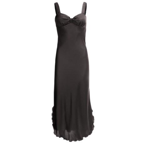 Diamond Tea Satin Nightgown - Sleeveless (For Women) in Black