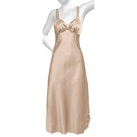 Diamond Tea Satin Nightgown - Sleeveless (For Women) in Latte