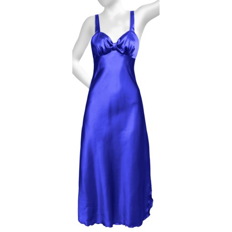 Diamond Tea Satin Nightgown - Sleeveless (For Women) in Royal