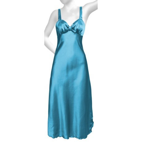 Diamond Tea Satin Nightgown - Sleeveless (For Women) in Turquooise