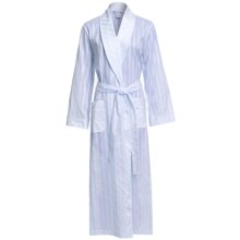 Diamond Tea Semi-Sheer Cotton Stripe Robe - Long Sleeve (For Women) in Bue - Closeouts