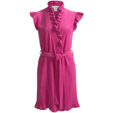 Diamond Tea Short Fashion Wrap Robe - Terry, Short Sleeve (For Women) in Fuchsia
