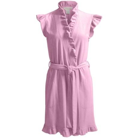 Diamond Tea Short Fashion Wrap Robe - Terry, Short Sleeve (For Women) in Rosetta