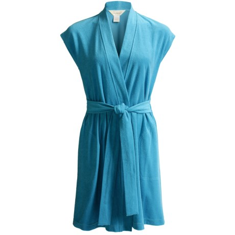Diamond Tea Short Jacquard Terry Wrap Robe - Short Sleeve (For Women) in Caribe