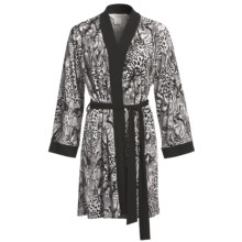 Diamond Tea Short Robe - Silky Print (For Women) in Black/White - Closeouts