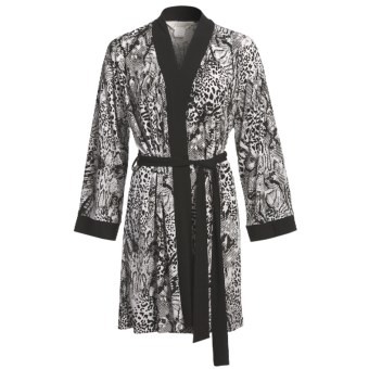 Diamond Tea Short Robe - Silky Print (For Women) in Black/White