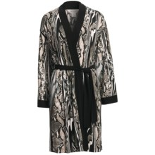 Diamond Tea Short Robe - Silky Print (For Women) in Snakes/Stripes Grey - Closeouts