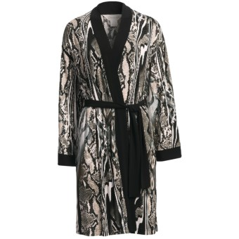 Diamond Tea Short Robe - Silky Print (For Women) in Snakes/Stripes Grey
