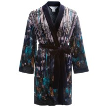 Diamond Tea Short Velvet Wrap Robe - Long Sleeve (For Women) in Plum - Closeouts