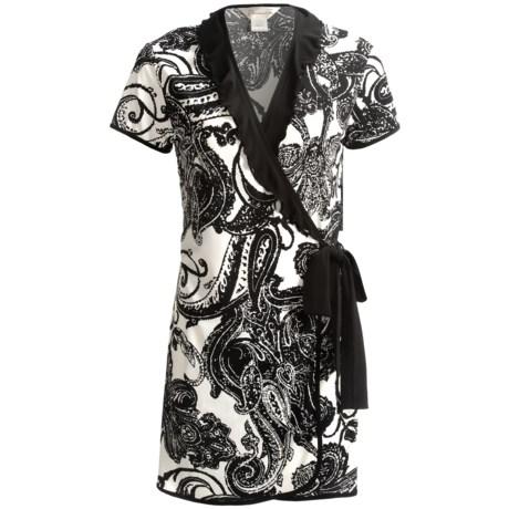 Diamond Tea Short Wrap Robe - Ruffle Trim, Short Sleeve (For Women) in Black
