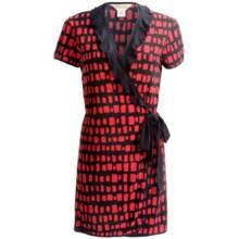 Diamond Tea Short Wrap Robe - Ruffle Trim, Short Sleeve (For Women) in Flamingo - Closeouts