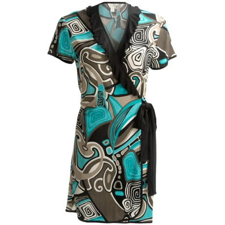 Diamond Tea Short Wrap Robe - Ruffle Trim, Short Sleeve (For Women) in Turquoise