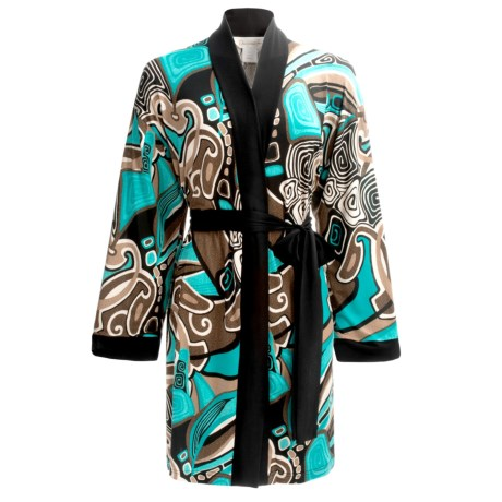 Diamond Tea Stretch Jersey Robe (For Women) in Turquoise