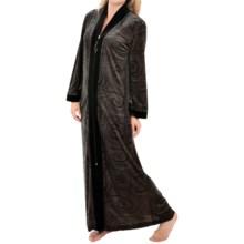 Diamond Tea Stretch Velvet Robe - Long Sleeve (For Women) in Dotted Swirls - Closeouts