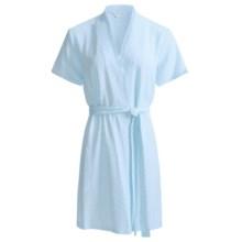Diamond Tea Textured Knit Wrap Robe - Modal Blend, Short Sleeve (For Women) in Blue - Closeouts