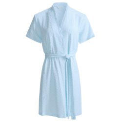 Diamond Tea Textured Knit Wrap Robe - Modal Blend, Short Sleeve (For Women) in Blue