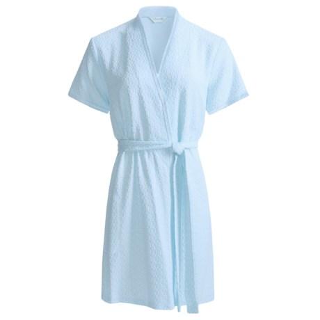 Diamond Tea Textured Knit Wrap Robe - Modal Blend, Short Sleeve (For Women) in Blue