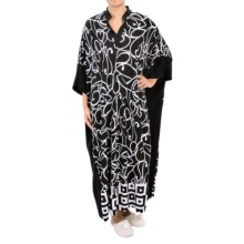 Diamond Tea V-Neck Caftan - 3/4 Sleeve (For Women) in Black/White - Closeouts