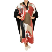 Diamond Tea V-Neck Caftan - 3/4 Sleeve (For Women) in Tabasco - Closeouts
