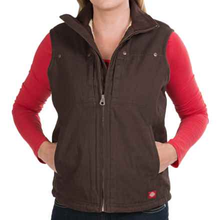 Dickies 10 oz. 2x2 Sanded Cotton Duck Vest - Sherpa Lining (For Women) in Chocolate Brown - Closeouts