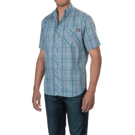 Dickies Button-Down Plaid Shirt - Cotton Blend, Short Sleeve (For Men) in Light Blue/Denim - Closeouts