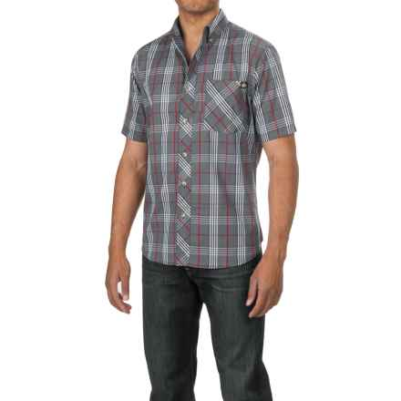 Dickies Button-Down Plaid Shirt - Cotton Blend, Short Sleeve (For Men) in Navy/Red - Closeouts