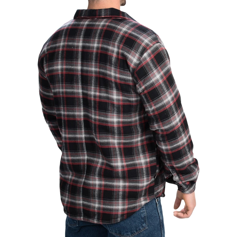 103fn 3 dickies cotton plaid shirt jacket sherpa lined for Sherpa lined plaid shirt