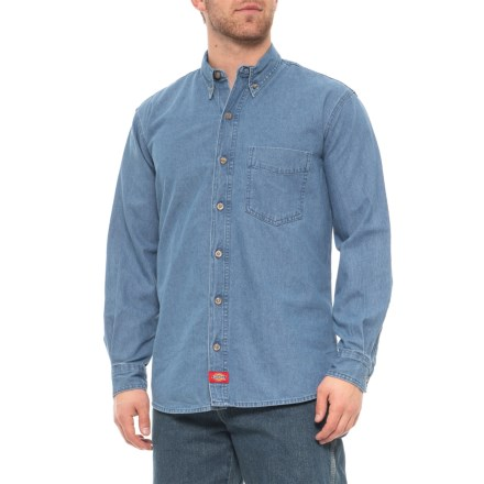 cec1f08f Dickies Denim Button-Down Shirt - Long Sleeve (For Men) in Rinsed Indigo
