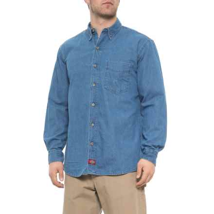 Dickies Denim Button-Down Shirt - Long Sleeve (For Men) in Stonewashed Indigo Blue - 2nds