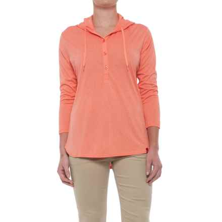 Dickies Henley Hoodie - 3/4 Sleeve (For Women) in Coral Fusion Heather - Closeouts