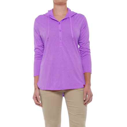 Dickies Henley Hoodie - 3/4 Sleeve (For Women) in Misty June Heather - Closeouts