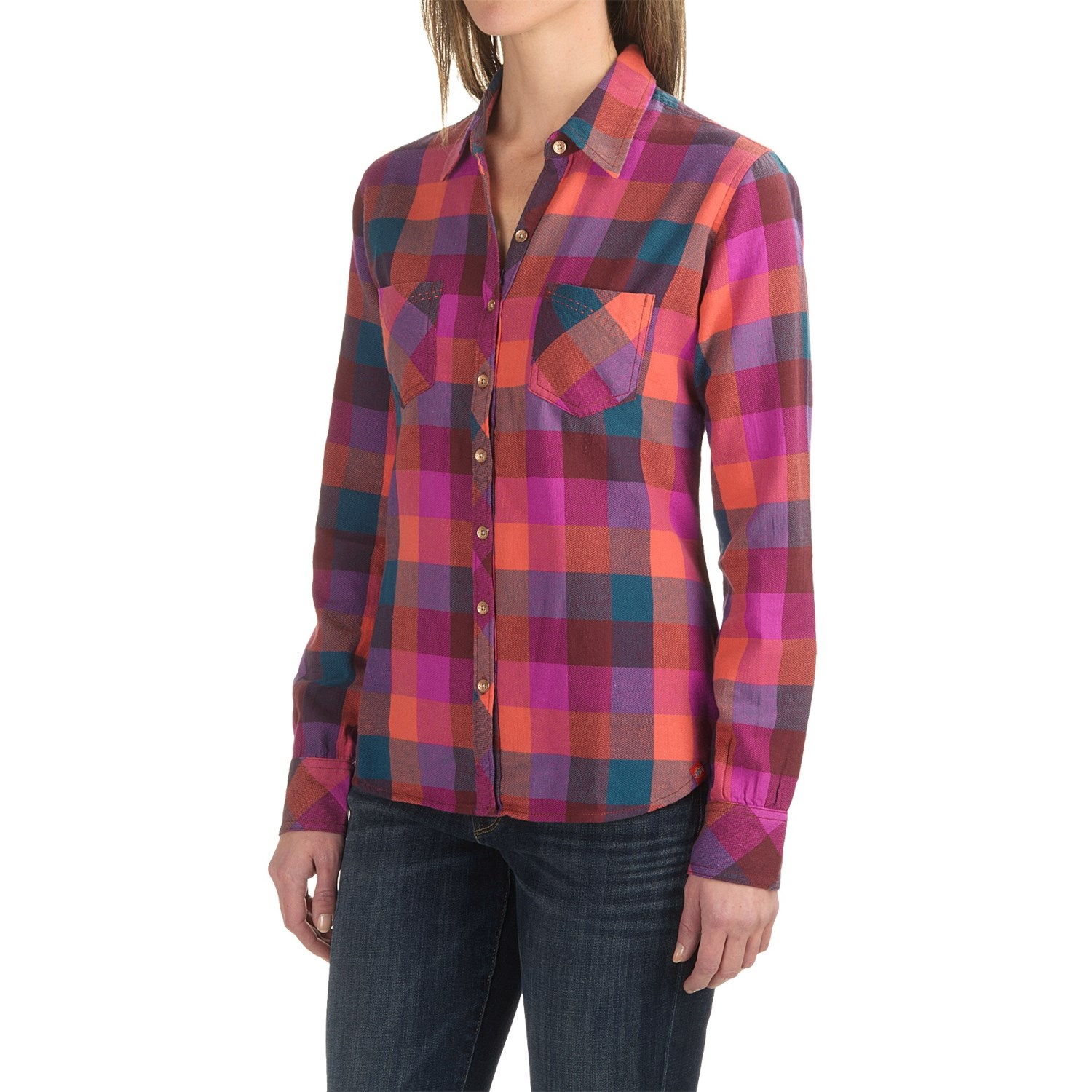 Dickies herringbone plaid flannel shirt for women save 62 for Flannel checked long sleeve shirt