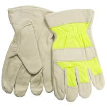 Dickies Hi-Vis Pigskin Drivers Gloves (For Men and Women) in Hi-Vis Lime - Closeouts
