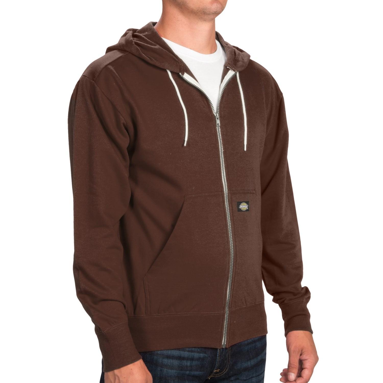 Dickies Lightweight Full-Zip Hoodie (For Men) in Chocolate Brown. Hover to zoom