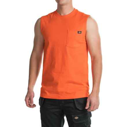 Dickies Muscle T-Shirt - Sleeveless (For Men) in Orange - Closeouts