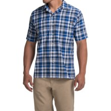 Dickies Plaid Camp Shirt - Short Sleeve (For Men) in Royal/Navy - Closeouts