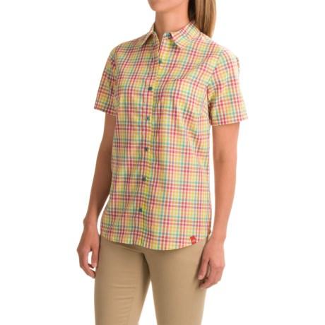 Dickies Plaid Camp Shirt - Short Sleeve (For Women) in Beetroot Purple/Deep Ocean Pla