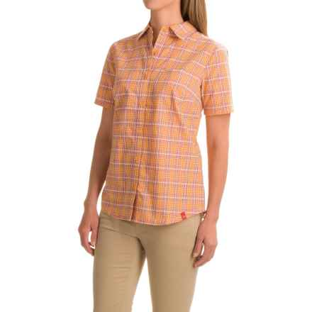 Dickies Plaid Camp Shirt - Short Sleeve (For Women) in Marigold/Vintage Rust Plaid - Closeouts