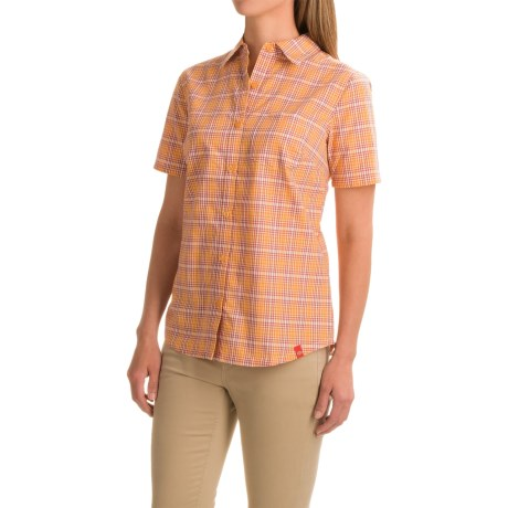 Dickies Plaid Camp Shirt - Short Sleeve (For Women) in Marigold/Vintage Rust Plaid