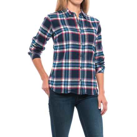 Dickies Plaid Flannel Shirt - Long Sleeve (For Women) in Black Iris/Texas Topaz Plaid - Closeouts