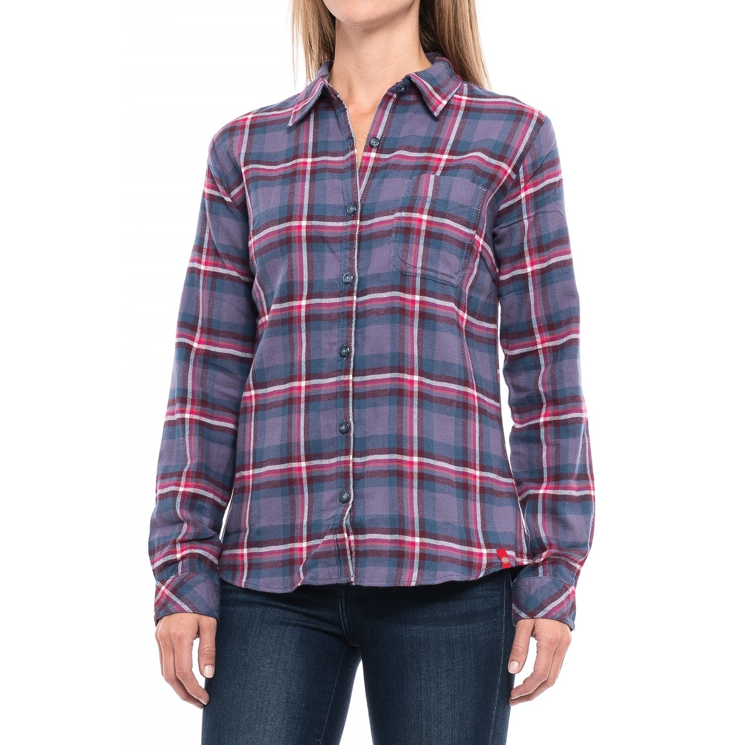 Dickies plaid flannel shirt for women save 53 for Flannel checked long sleeve shirt