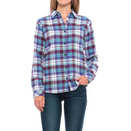 Dickies Plaid Flannel Shirt - Long Sleeve (For Women) in Dusty Blue/Opaque White Plaid - Closeouts