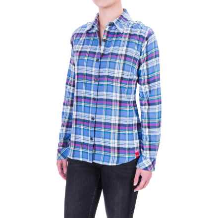 Dickies Plaid Flannel Shirt - Long Sleeve (For Women) in French Blue/Teal Pink Berry - Closeouts