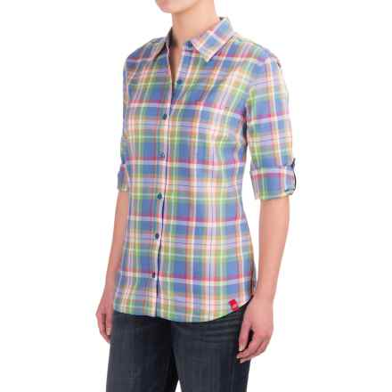 Dickies Plaid Roll-Up Shirt - Elbow Sleeve (For Women) in Coral Fusion/Jungle Green Plaid - 2nds