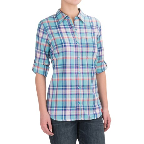 Dickies Plaid Roll-Up Shirt - Elbow Sleeve (For Women) in Plaid Jordy Blue