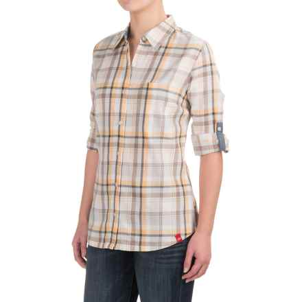 Dickies Plaid Roll-Up Shirt - Elbow Sleeve (For Women) in Plaid Pebble Brown/Apricot Nectar - 2nds