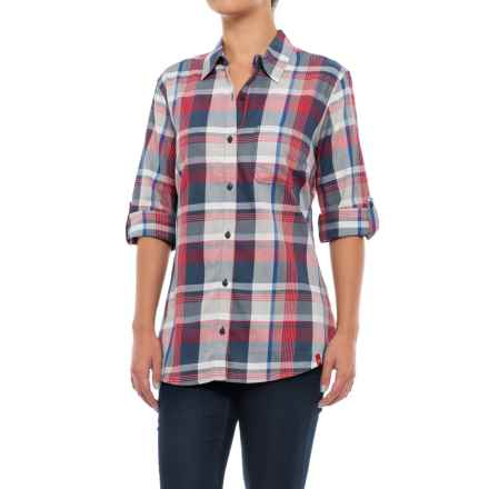 Dickies Plaid Roll-Up Shirt - Elbow Sleeve (For Women) in Plaid Red/Princess Blue - 2nds